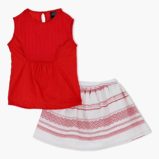 Sleeveless Top and Embroidered Skirt Set