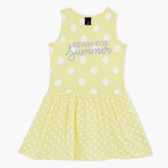Printed Sleeveless Dress with Round Neck