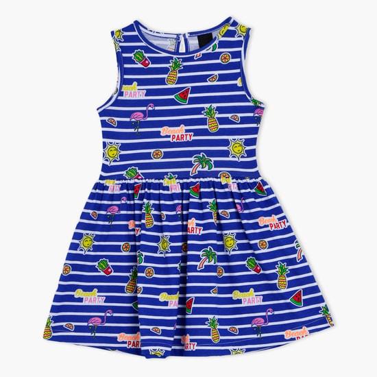 Printed Sleeveless Round Neck Dress