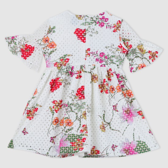 Floral Print Short Bell Sleeves Woven Dress