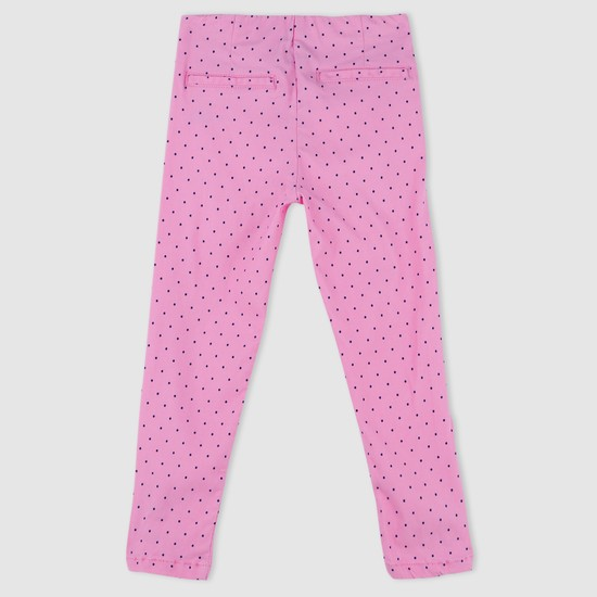 Polka Dot Print Trousers with Elasticised Waistband