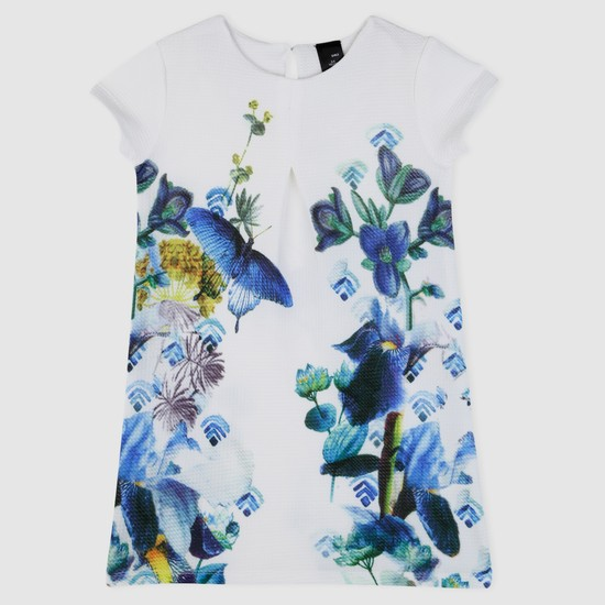 Floral Print Woven Dress with Short Sleeves