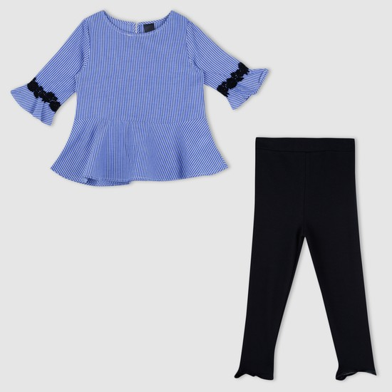 Striped Top and Full Length Jeggings Set
