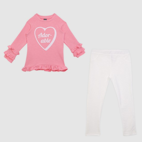 Printed T-Shirt and Jeggings Set