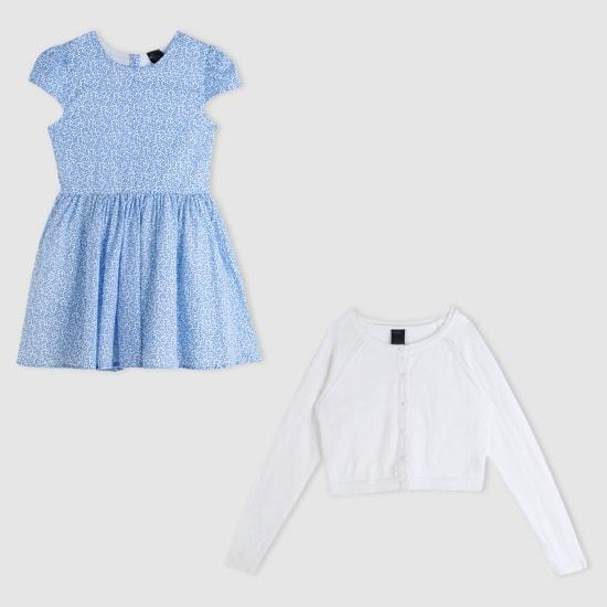 Printed Dress and Long Sleeves Crop Jacket Set