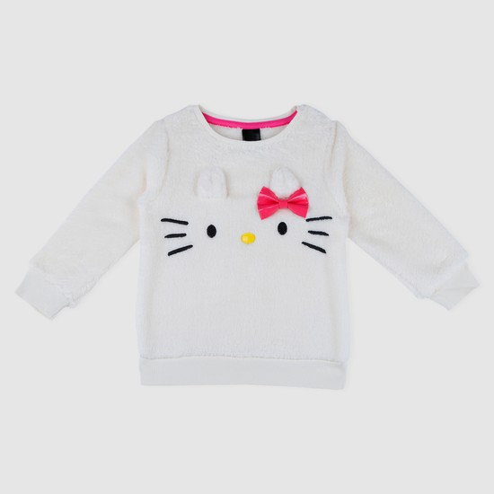 Long Sleeves Embroidered Sweat Top with Bow Applique