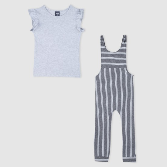 Striped Dungaree and Top Set