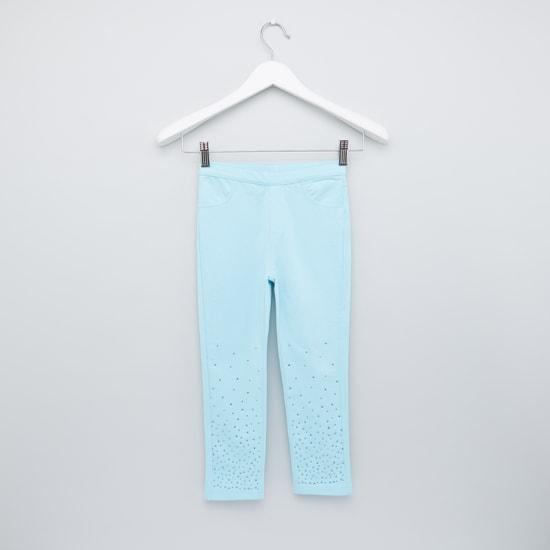 Embellished Full Length Pants with Elasticised Waistband