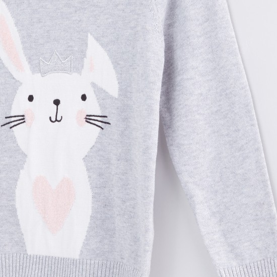 Bunny Embroidered Textured Long Sleeves Sweater