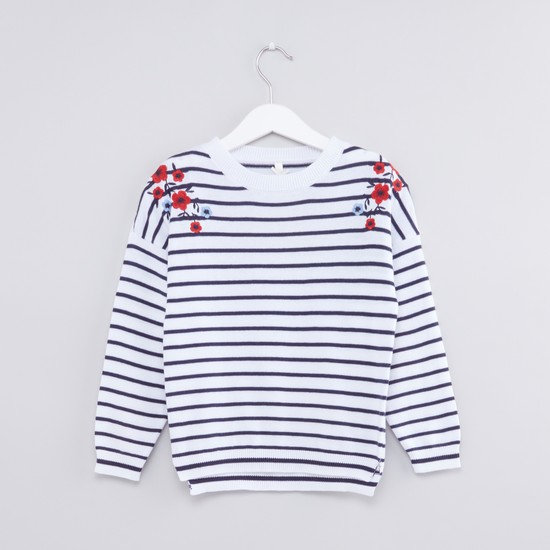 Striped Round Neck Long Sleeves Sweater