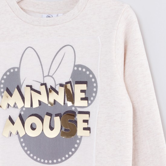 Minnie Mouse Printed Round Neck Long Sleeves Sweatshirt