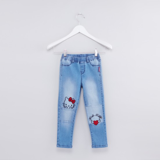 Hello Kitty Embroidered Jeans with Elasticised Waistband