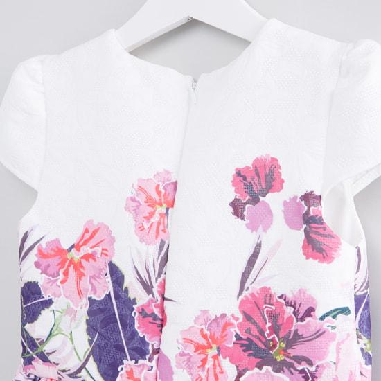 Floral Printed Cap Sleeves Dress