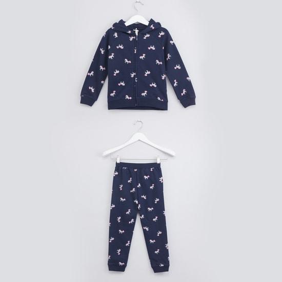 Printed Jacket and Jog Pants Set