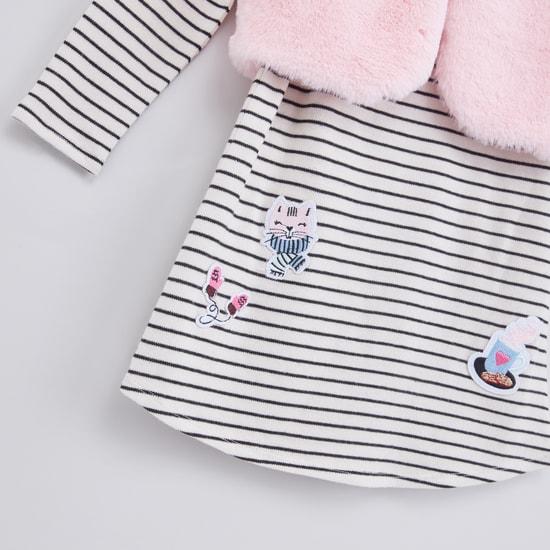Striped Applique Detail Dress with Plush Sleeveless Shrug