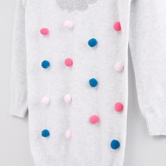 Pom-Pom Detail Sweater with Printed Stockings