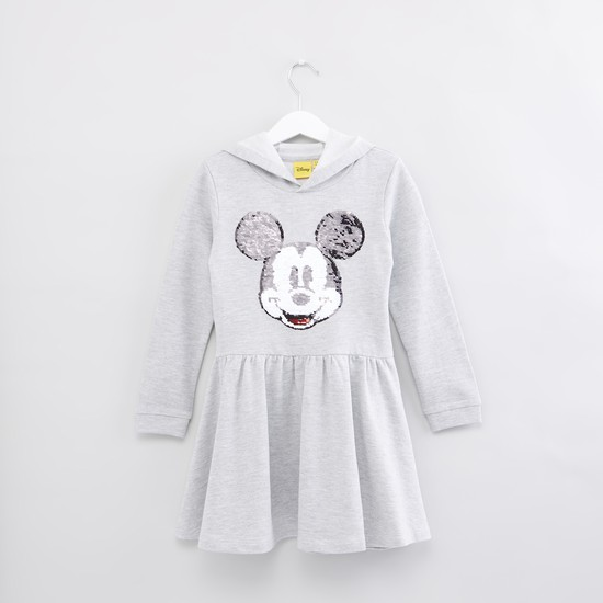 Mickey Mouse Sequin Detail Long Sleeves Dress