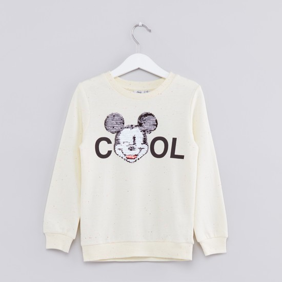 Mickey Mouse Embellished Round Neck Long Sleeves Sweatshirt
