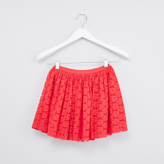 Printed Round Neck T-shirt with Floral Textured Skirt