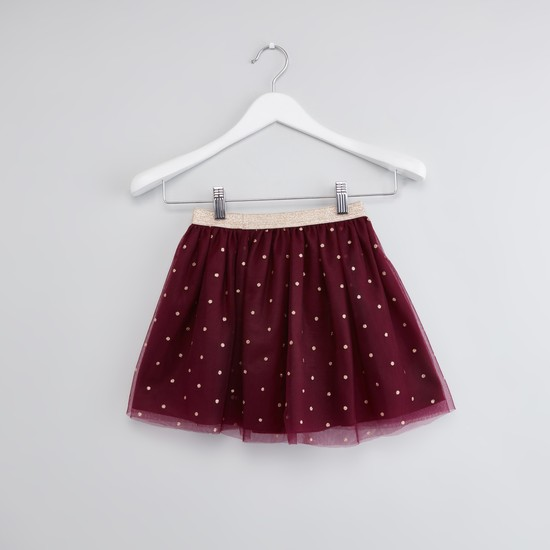 Graphic Print T-shirt with A-line Skirt Set