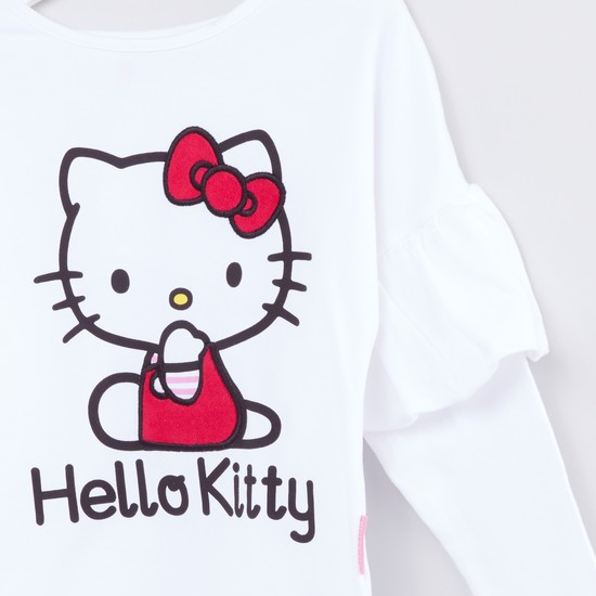 Hello Kitty Printed Long Sleeves Ruffle Detail Top