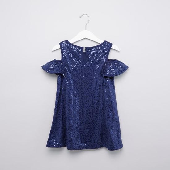 Sequin Detail Cold Shoulder Dress