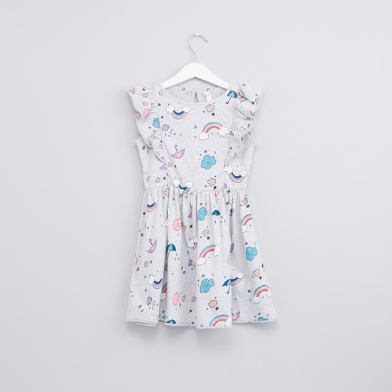 Printed Frill Detail Dress