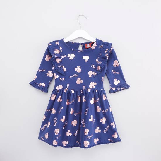 Printed Dress with 3/4 Sleeves and Ruffle Detail