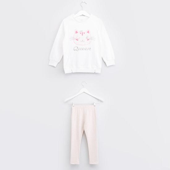 Embroidered Long Sleeves Sweatshirt with Leggings