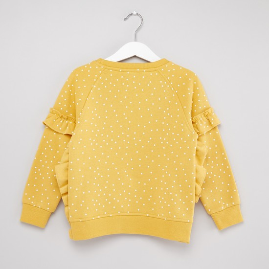 Polka Dot Printed Sweat Top with Long Sleeves and Ruffle Detail