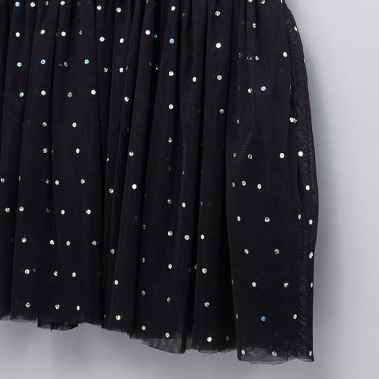 Sequin Detail 2-in-1 Dress with Round Neck and Cap Sleeves