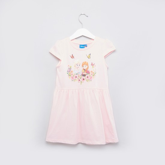 Frozen Printed Dress with Round Neck and Cap Sleeves