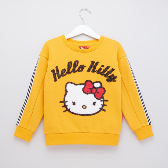 Hello Kitty Glitter Detail Sweat Top with Long Sleeves