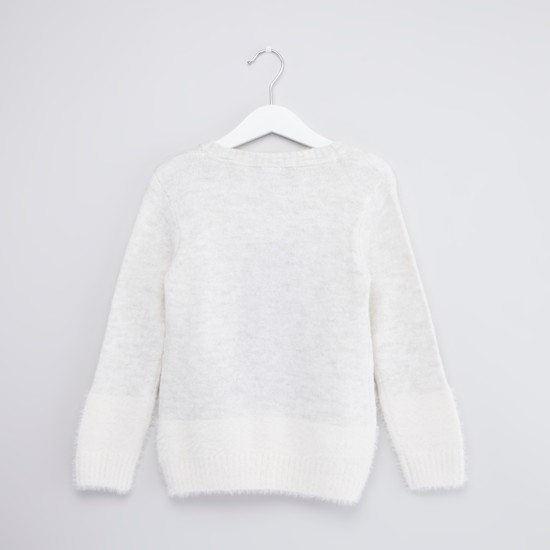 Textured Sweater with Long Sleeves and Pom Pom Detail