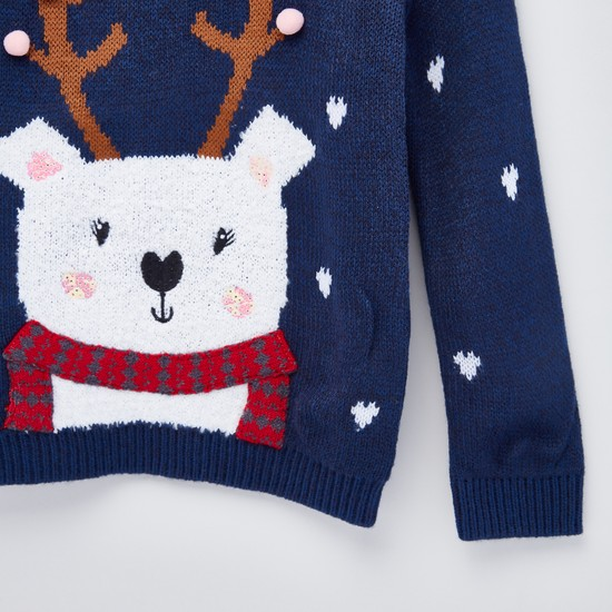 Applique Detailed Sweater with Round Neck and Long Sleeves