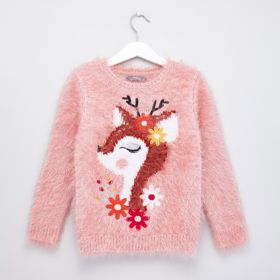 Deer Embroidered Round Neck Fur Sweater with Long Sleeves