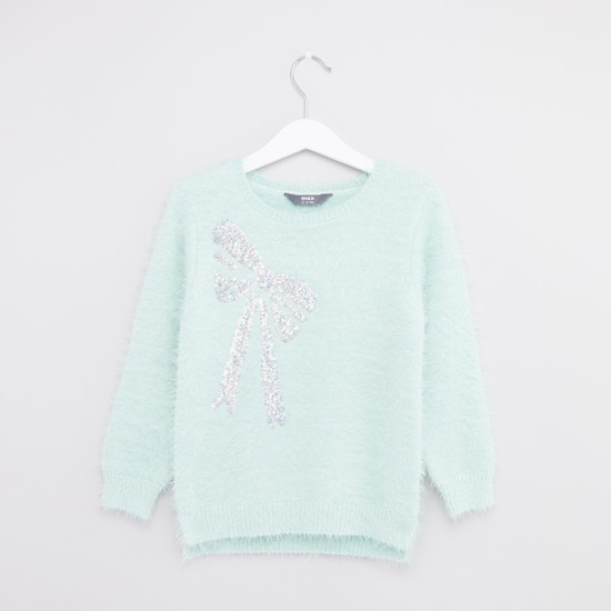 Sequin Detail Sweater with Round Neck and Long Sleeves