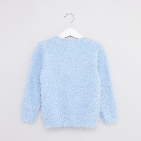 Mickey Mouse Textured Sweater with Round Neck and Long Sleeves