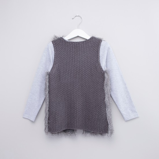 Sequin Detail Round Neck T-shirt with Sleeveless Sweater