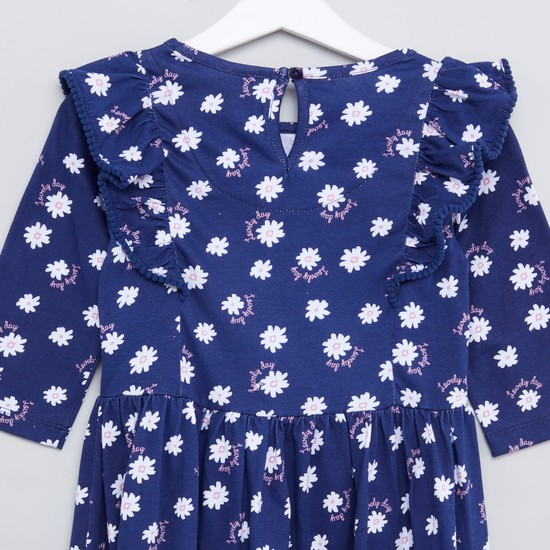 Floral Printed Dress with Ruffle Detail and Long Sleeves
