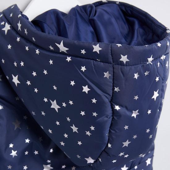 Star Printed Sleeveless Puffer Jacket with Zip Closure