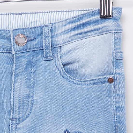 Embroidery Detail Jeans with Pockets