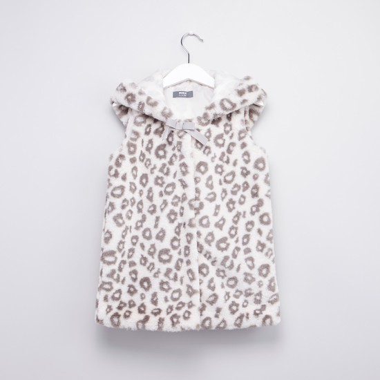 Animal Printed Sleeveless Jacket with Applique Detail