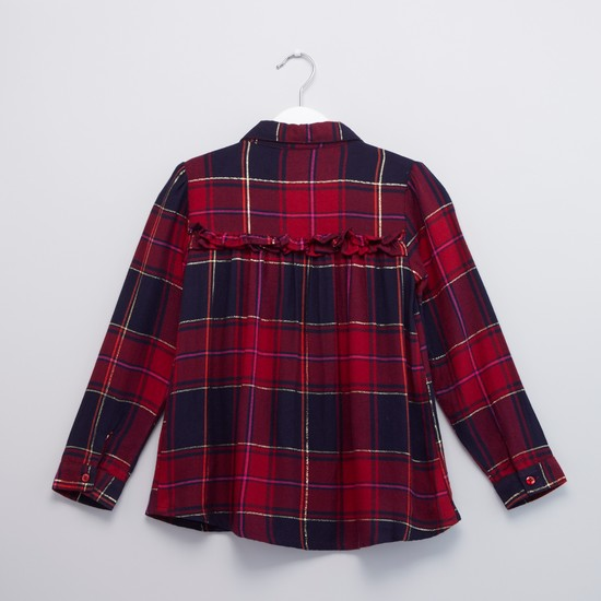 Checked Collared Blouse with Long Sleeves and Frill Detail