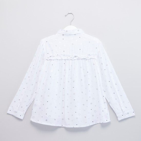 Printed Top with Long Sleeves and Frill Detail