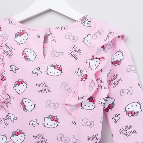 Hello Kitty Print Round Neck Knit Dress with Long Sleeves