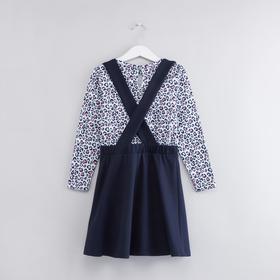 Printed Long Sleeves Top with Cross Strap Pinafore