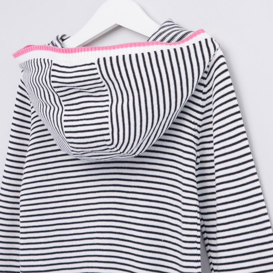Hooded Striped Sweater with Long Sleeves