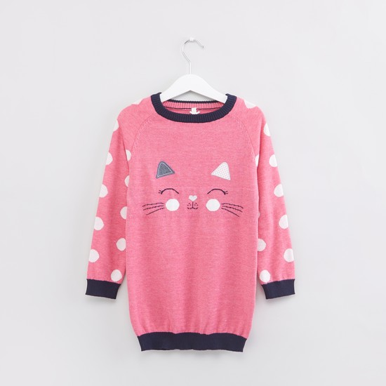Printed Long Sleeves Sweater with Closed Feet Stockings