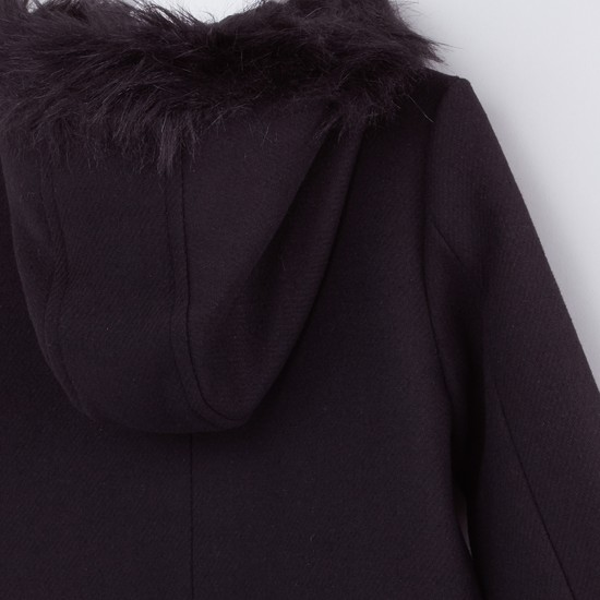 Textured and Hooded Jacket with Plush and Pocket Detail